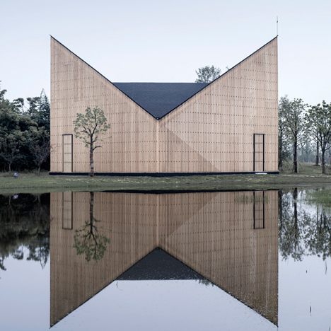 Garden chapel by AZL Architects features semi-transparent walls and a butterfly roof