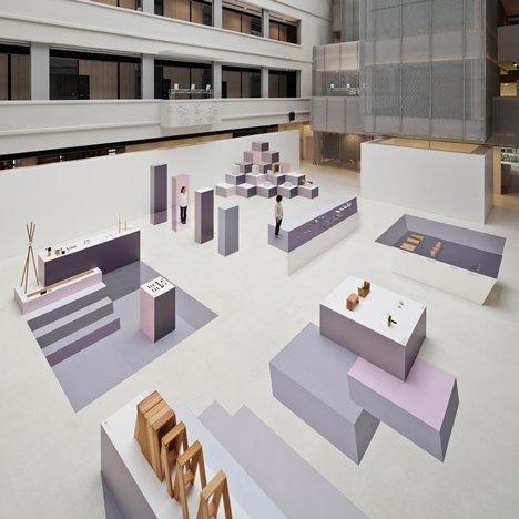 Nendo creates pastel optical illusions for Japanese design exhibition display