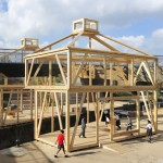 Skeletal pavilion shaped like a lock keeper's cottage pops up in London's Olympic Park