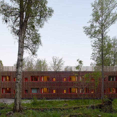 Kjellgren Kaminsky clads Öijared Hotel in timber strips from the nearby forest