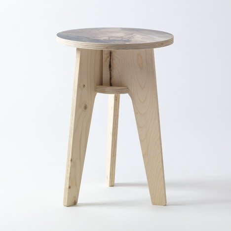 Plywood print stools by Piet Hein Eek for NLXL