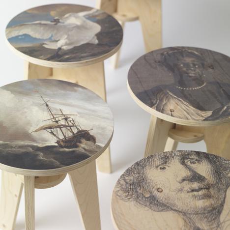 Piet Hein Eek prints Rijksmuseum artworks onto flatpack stools