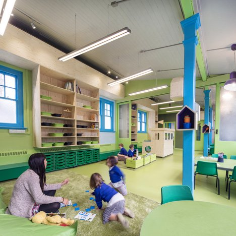 Aberrant Architecture adds vivid colours and playful furnishings to an east London school