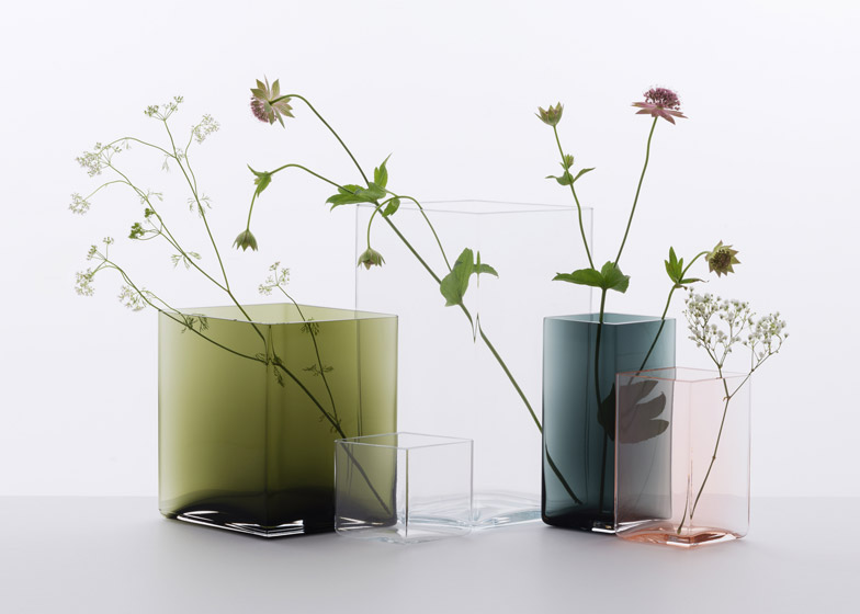 Bouroullec brothers design minimal coloured Ruutu vases for Iittala