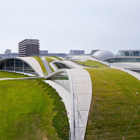 Concrete hills frame the galleries of Mari Ito's Komatsu science museum