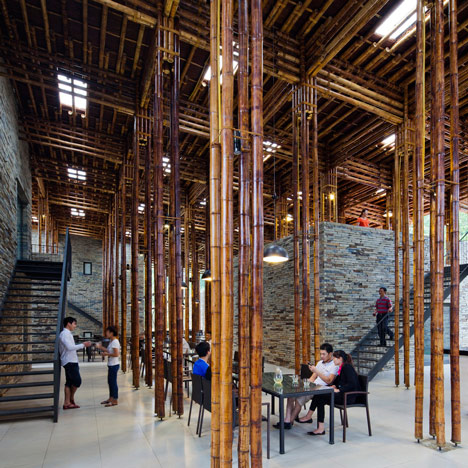 """Vo Trong Nghia's Son La Restaurant hides a """"bamboo forest"""" behind stone pavilions"""