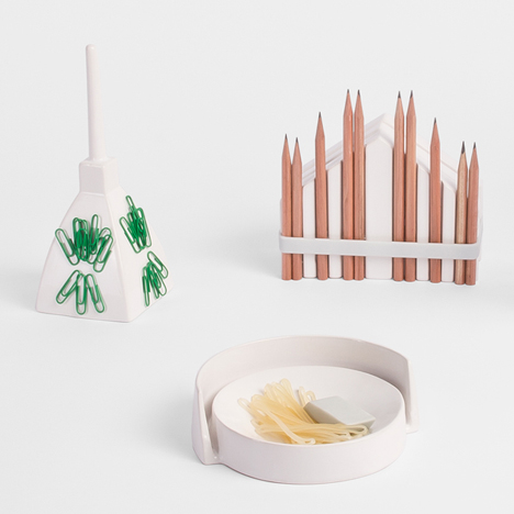 Andrea Rekalidis' ceramic desk-tidies take the form of Italian landmarks