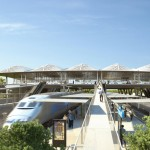 "Marc Mimram designs ""delicate pleated roof"" for Montpellier's new TGV station"