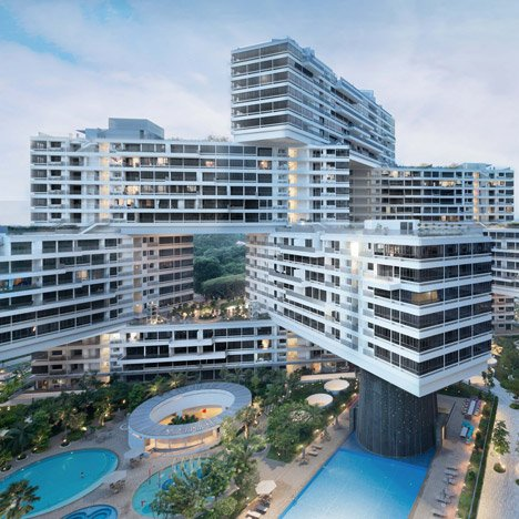 "Ole Scheeren's The Interlace envisioned as ""a blatant reversal"" of tower-block housing"