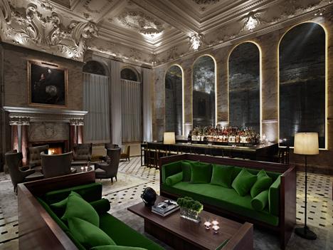 Interior of London Edition Hotel, UK, by Yabu Pushelberg
