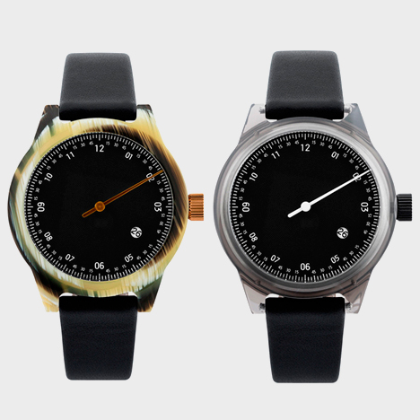 Minuteman one hand with leather strap in horm/black (left) and grey/black (right)