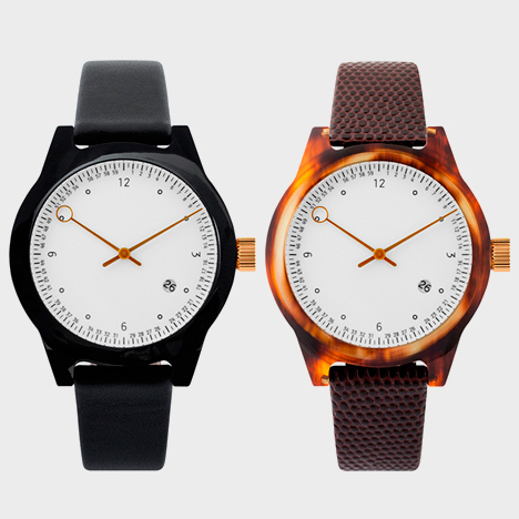 Minuteman one hand with leather strap in black/black (left) and tortoise/croc (right)