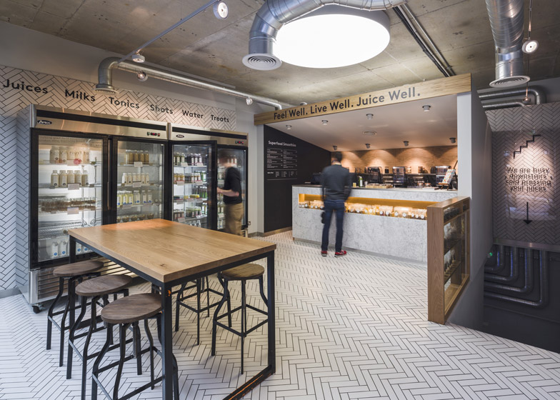 Jump Studios dresses Soho juice bar with industrial fittings and tiled herringbone floor