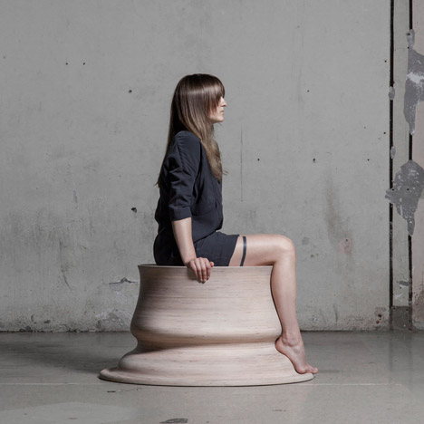 Marija Puipaitė shapes Embracing Touch seats with the outline of her legs
