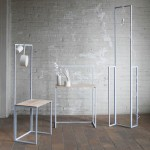 Steel frames are bolted together to form   Flexible Order modular furniture system