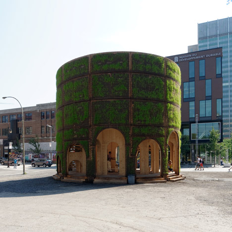 Raumlaborberlin builds a grass-covered enclosure around a Montreal fountain
