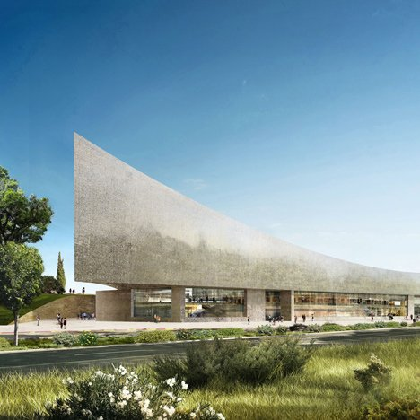 Herzog & de Meuron unveils curving stone design for contentious Israel library