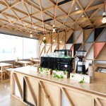 Australian prison converted into a cafe lined with colourful tessellating triangles