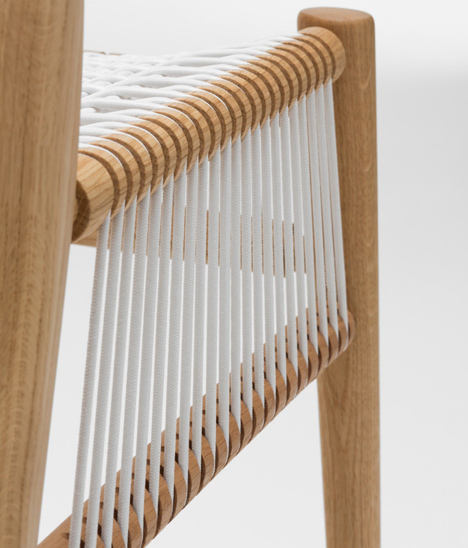 This image and main: Loom chair is made with a natural wood frame and woven cord