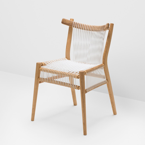 Loom Chair with white woven cords