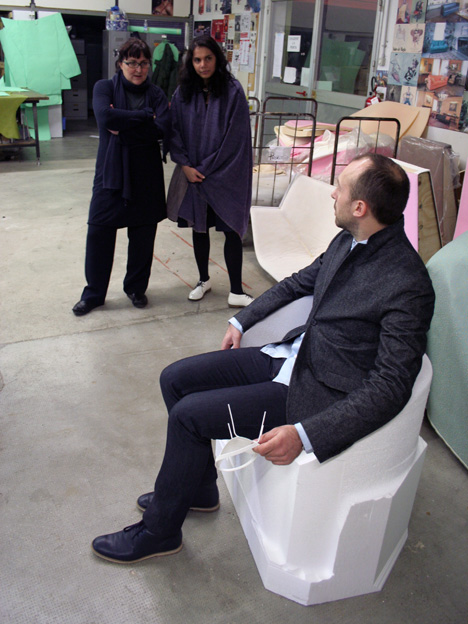 Nipa Doshi, Jonathan Levien and Patrizia Moroso at the Moroso factory