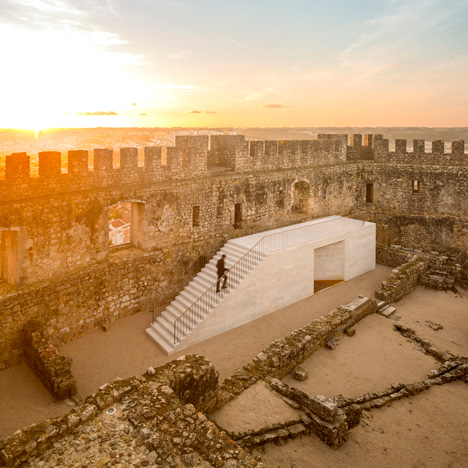 Pombal Castle visitor centre offers a peek through a historic stone wall