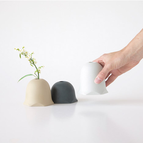 "Oato's porcelain vases fit together to form miniature ""landscapes"""