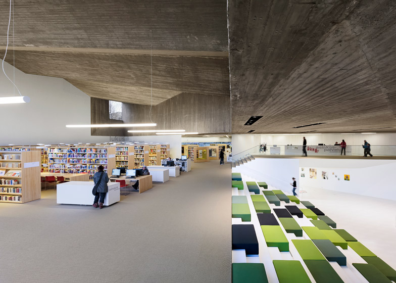 Subterranean tunnel links Seinäjoki library by JKMM Architects with Aalto's 1965 building