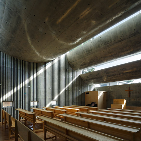 Six inverted arches outline the roof of<br /> Shonan Christ Church by Takeshi Hosaka