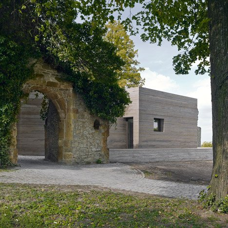 Sparrenberg Castle visitor centre by Max Dudler<br /> boasts striated concrete walls
