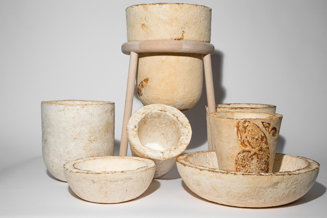 Vessels made from mycelium by Officina Corpuscoli