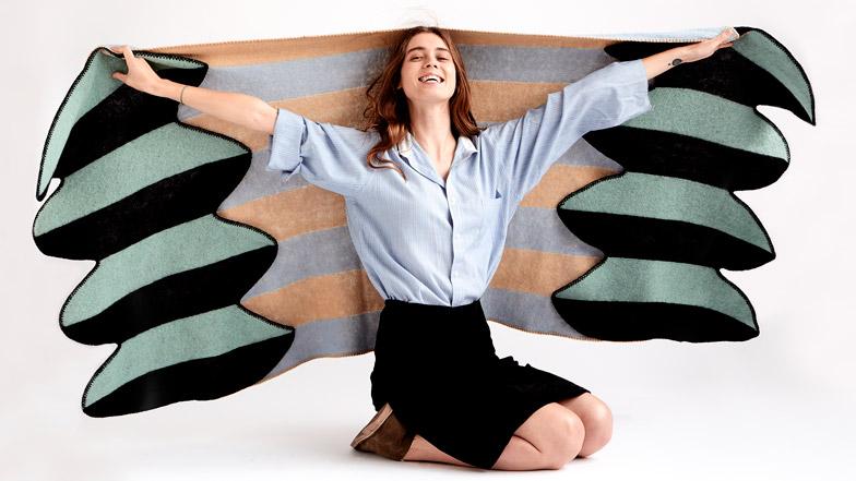 Vík Prjónsdóttir launches latest wing-shaped blankets made from Icelandic wool