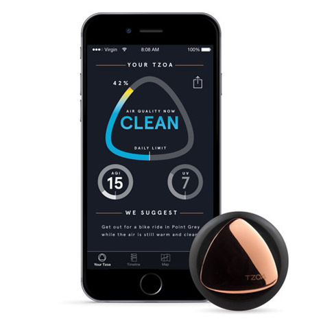 TZOA wearable enviro tracker by Woke Studios