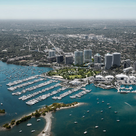 Aerial render of Miami showing developments by Hayes Davidson