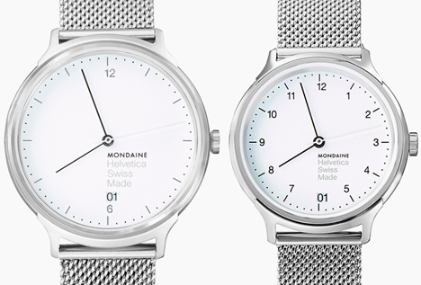 This image: Helvetica Light 38mm in white/brushed silver (left) and Helvetica Regular 33mm in white/polished silver (right) – main image: Mondaine Helvetica Light 38mm in brushed/brown