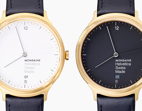 Mondaine Helvetica Light 38mm in gold/white (left) and gold/black (right)