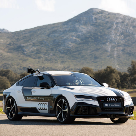 Audi's super-fast driverless car is fitted with a mini film studio