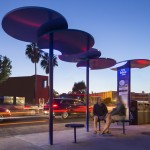 LOHA's revamped Santa Monica bus shelters are blue discs on stilts