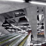 Cavernous Budapest metro stations feature concrete lattice overhead