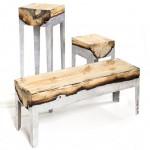 Hilla Shamia casts tree trunks with molten aluminium to form furniture