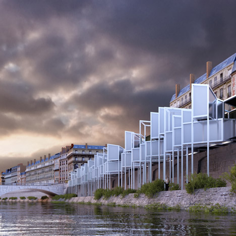 MenoMenoPiu Architects proposes capsule hotel along the Seine
