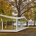 Barkow Leibinger's Fellows Pavilion offers study spaces in a lakeside garden