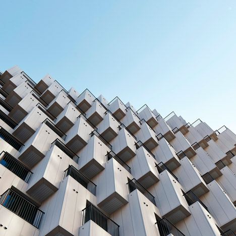Hundreds of cubes front Julien De Smedt's Gangnam housing block