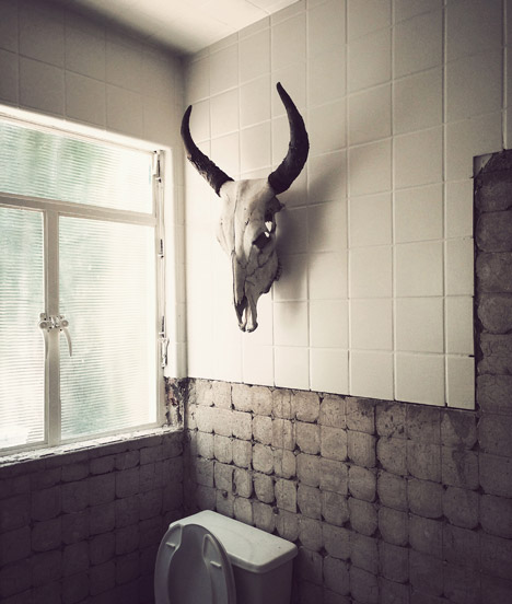 animal shaped tile animal bones adorn the walls of hueso restaurant in mexico