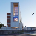 Granite-clad library by Carr Cotter & Naessens faces out over the Irish Sea