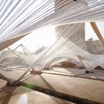 "Barkow Leibinger chose ""strong and elastic"" cotton for tensile installation in Marrakech"