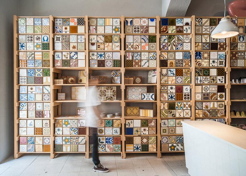Lisbon tile trader uses vintage stock to pattern shop walls