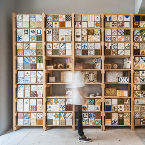 Lisbon tile trader Cortiço & Netos uses vintage stock to pattern shop walls
