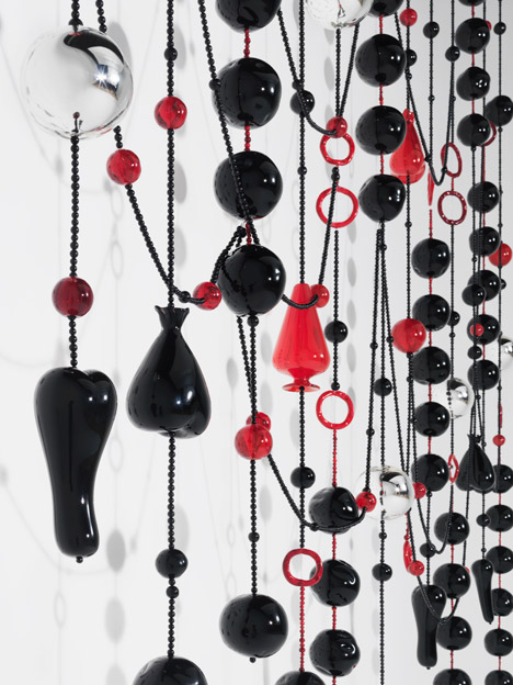 Jean-Michel Othoniel, Black Rosaries, 2014.  Detail of Site-Specific Commission For One Way: Peter Marino Exhibition At The Bass Museum of Art Courtesy of Jean-Michel Othoniel. Photograph by Philippe Chancel