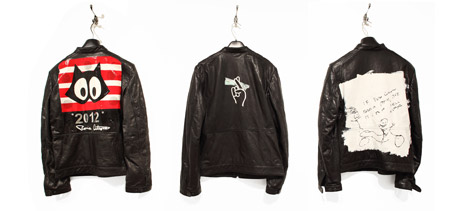 Ronnie Cutrone, Leather Biker Jacket, 2010. Lee Quinones, Leather Biker Jacket, 2010.  Nate Lowman, Leather Biker Jacket, 2010. Left: Ronnie Cutrone Middle: Lee Quinones Right: Nate Lowman Courtesy Of The Andy Warhol Museum, Pittsburgh